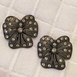 Vintage pewter and rhinestone shoe clips/earrings